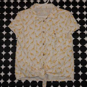 Zara Giraffe Print Linen Blend Top Tie Waist 7/8